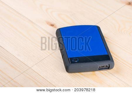 External Hard Disc Hdd On The Wooden Board Table With Copy Space