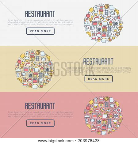 Restaurant concept with thin line icons: chef, kitchenware, food, beverages for menu or print media. Vector illustration for banner, web page.