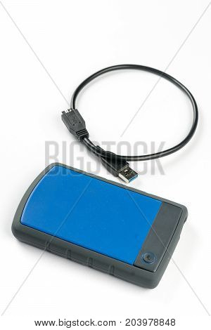 External Usb Hard Disc Hdd With Usb Cable Isolated Over White Background
