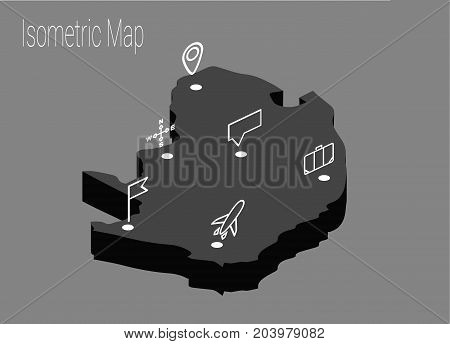 Map North Africa isometric concept. 3d flat illustration of Map North Africa.