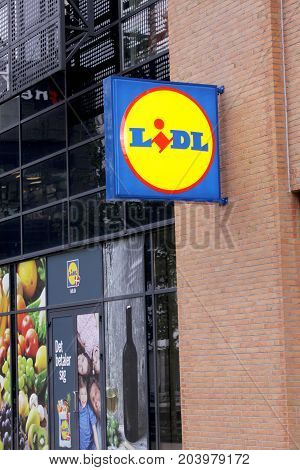 LIDL panel sign outside supermarket. Branch from LIDL supermarket chain. LIDL is a German global discount supermarket chain, based in Germany, that operates over 10,000 stores across Europe, and expanded to the United States in 2017, Copenhagen, September
