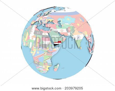 Yemen On Globe Isolated