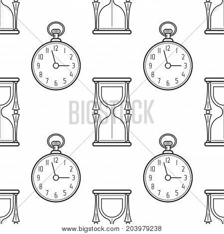 Hourglass and pocket watch. Black and white seamless pattern for coloring books, pages. Vector illustration.