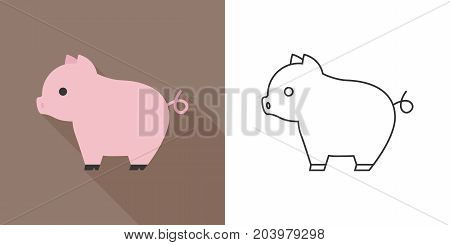 cute pig icon, flat and outline design vector