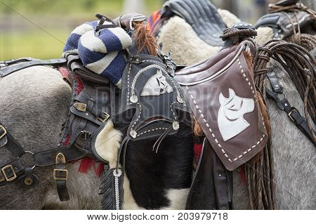 May 27 2017 Sangolqui Ecuador: closeup details of horse saddle used in the Andes area