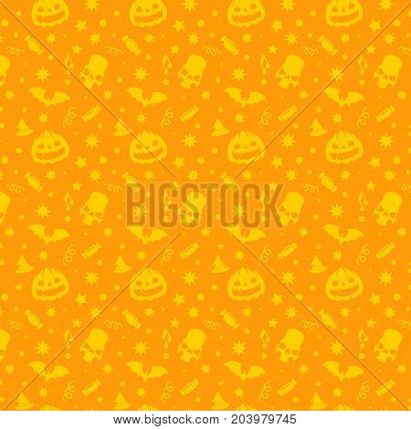 Halloween seamless pattern vector design for background, wrapping paper, greeting card. Pumpkins and sculls objects illustration.
