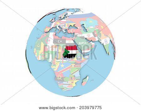 Sudan On Globe Isolated