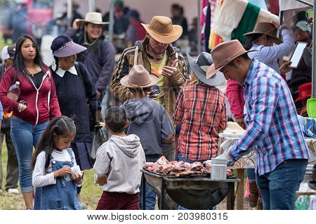 May 27 2017 Sangolqui Ecuador: people attending a rural rodeo in the high altitude Andes
