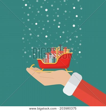 Santa claus hand holding sleigh containing a full of presents. Vector illustration