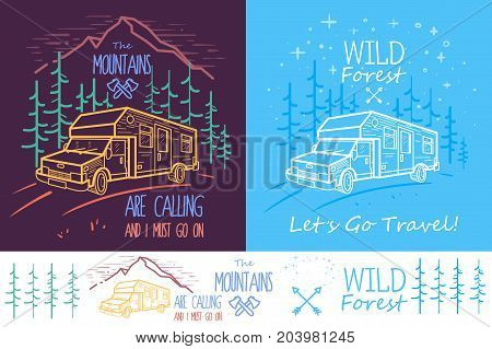 Trendy collection of two illustrations with trees, van, road and mountains on dark background. Can be used for print, web or mobile design as icon, emblem or illustration