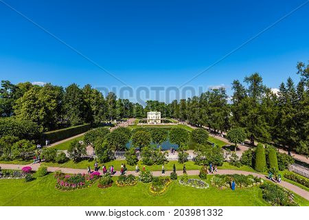 ST.PETERSBURG/RUSSIA - JULY 26, 2017.  Part of the regular old garden with the Pavilion Upper bath of Catherine Park in Tsarskoye Selo.
