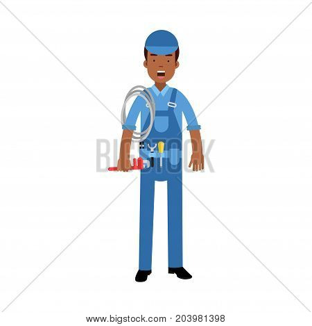 Proffesional plumber character in a blue overall standing with monkey wrench and roll of rope, plumbing service vector Illustration on a white background