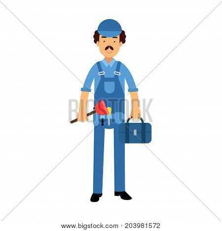 Proffesional plumber character in a blue overall standing with plunger tool and tool box, plumbing service vector Illustration on a white background