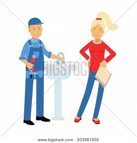 Young woman standing with proffesional plumber character repairing faucet tap, plumbing service vector Illustration on a white background
