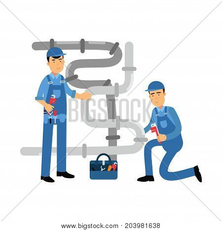 Proffesional plumber men characters repairing and fixing water pipes, plumbing service vector Illustration on a white background