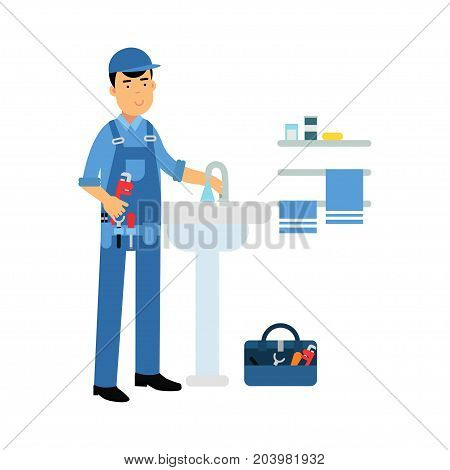 Proffesional plumber character with monkey wrench repairing faucet tap, plumbing service vector Illustration on a white background
