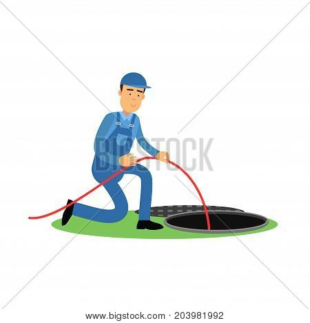 Proffesional plumber character standing next to a sewer manhole, plumbing service vector Illustration on a white background