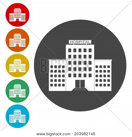 Hospital icons set, vector icon on circle