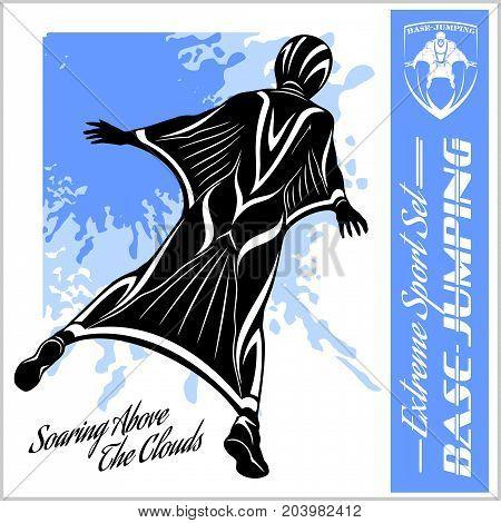 Base-Jumping - Wingsuit flying. Sport set - vector illustration.