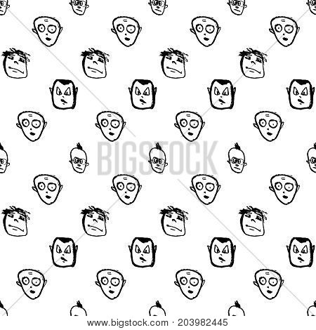 Doodles faces seamless pattern.Vector black and white illustration. Sketchy cartoon characters.