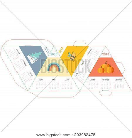 Template nice pyramid calendar 2018 with cartoons and animals. Week starts Sunday.