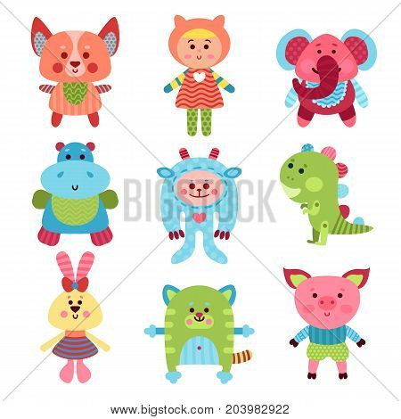 Cute cartoon animals and baby toys set of colorful vector Illustrations for baby clothes print, greeting and invitation cards, baby shower celebration