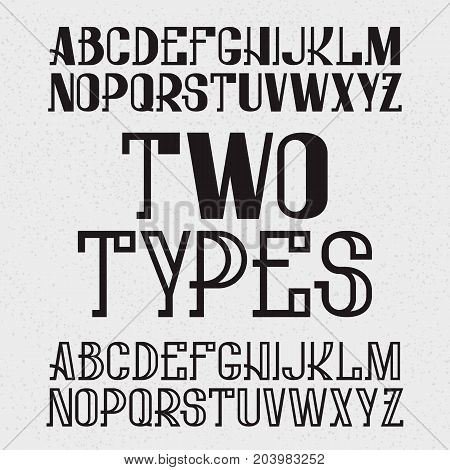Two types of font - full and hollow. Black capital letters. Isolated english alphabet.
