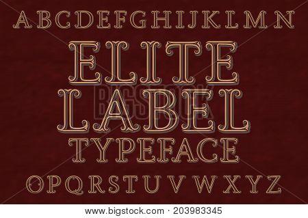 Elite label typeface font. Isolated english alphabet.