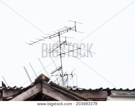 Radio Reception Antenna Installed On A High Roof. Abstract Background Graphic.