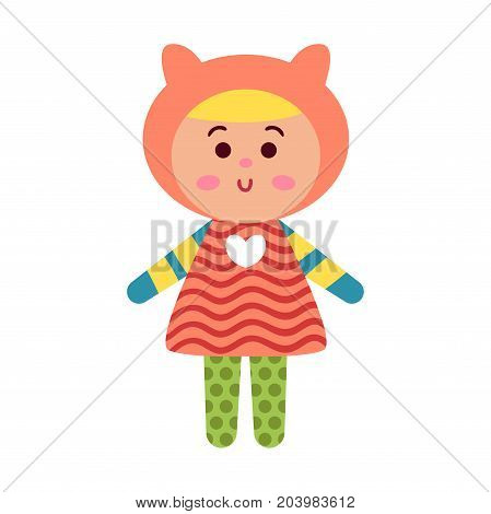 Cute cartoon colorful baby doll toy, vector Illustration for baby clothes print, greeting and invitation cards, baby shower celebration