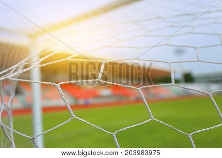 Soccer Netting Football Net And  The Goal Stadium Field