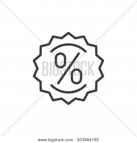 Label with percent sign line icon, outline vector sign, linear style pictogram isolated on white. Discount symbol, logo illustration. Editable stroke. Pixel perfect vector graphics