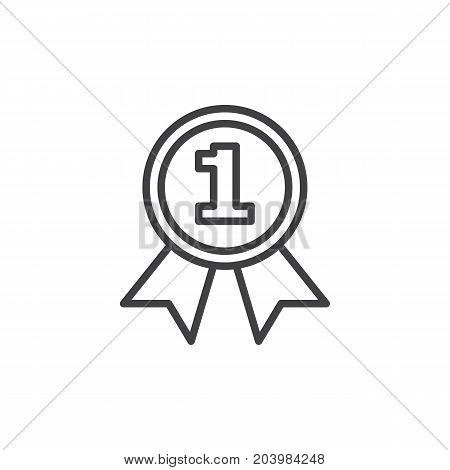 First place medal line icon, outline vector sign, linear style pictogram isolated on white. Best seller symbol, logo illustration. Editable stroke. Pixel perfect vector graphics