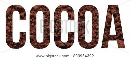 cocoa text banner sample over white background