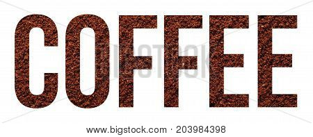 coffee powder text banner sample over white