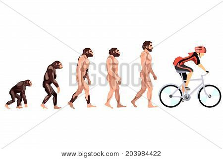 Evolution of the cyclist. Vector illustration on white background