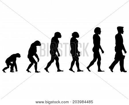 Silhouette progress Man evolution. Vector illustration isolated