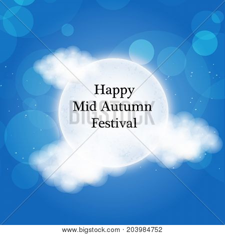 illustration of clouds and moon with Happy Mid Autumn Festival text on the occasion of harvest festival Mid Autumn celebrated in most East Asian Countries such as China and Vietnam.