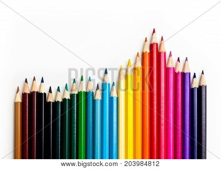 colored pencil crayon, increasing graph pattern on white background