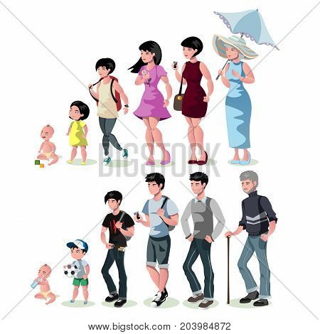 People generations at different ages. Vector illustration