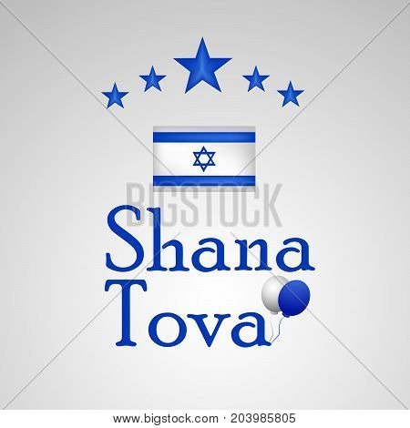 illustration of stars and Shana Tova text on the occasion of Jewish New Year Shanah Tovah