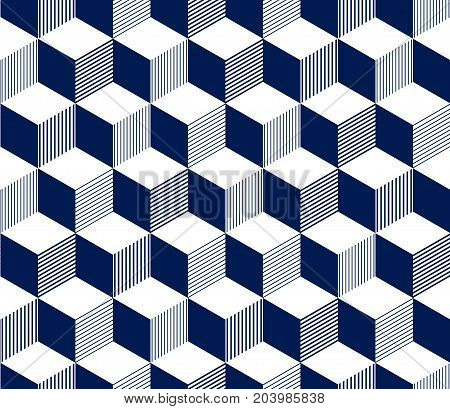 Abstract 3d striped cubes geometric seamless pattern in blue and white, vector background