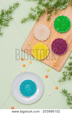 Asian, Japanian Food, Traditional Sweet Dessert Multicolored No Bake Snow Skin Mooncakes On White Ma