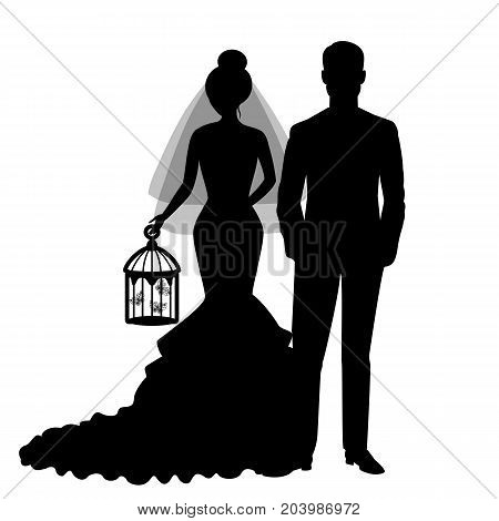 The bride and groom. The black silhouette of bride and groom on a white background. Vector illustration.