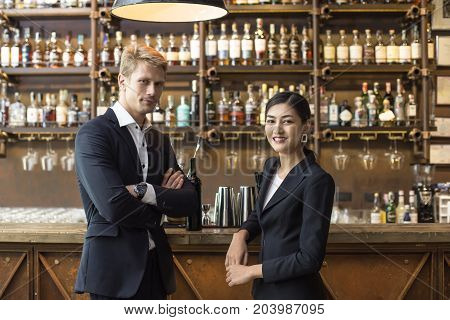 People With Agreement For Working Together At Bar. Business Team Concept.