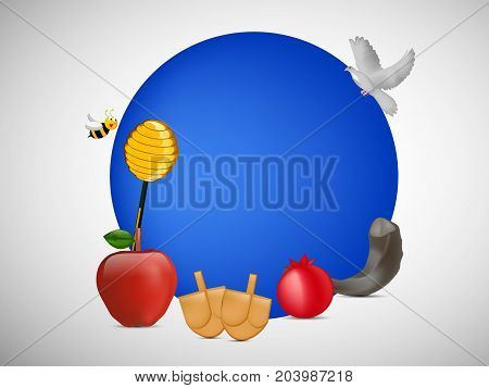 illustration of bee, pigeon, honey, apple, pomegranate and shofar on the occasion of Jewish New Year Shanah Tovah