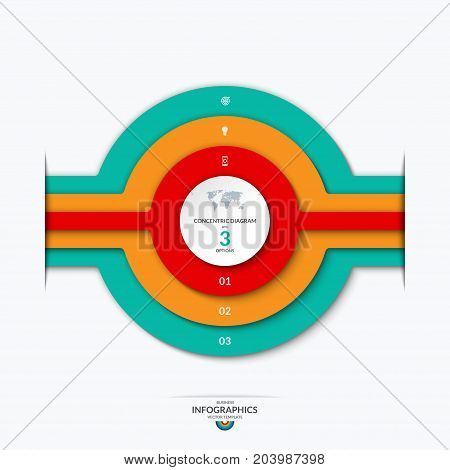 Concentric circles diagram for infographics . Vector banner with 3 options, levels, layers, stages. Can be used for graph, chart, report, data representation, web design