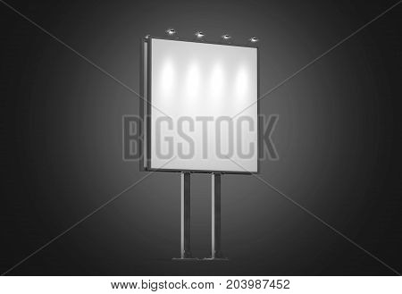Blank white banner mock up on square city billboard at night 3d rendering. Empty bill board mock up isolated. Light box canvas on street sign. Outdoor poster screen. Big illuminated signage darkness