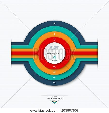 Concentric circles diagram for infographics . Vector banner with 4 options, levels, layers, stages. Can be used for graph, chart, report, data representation, web design