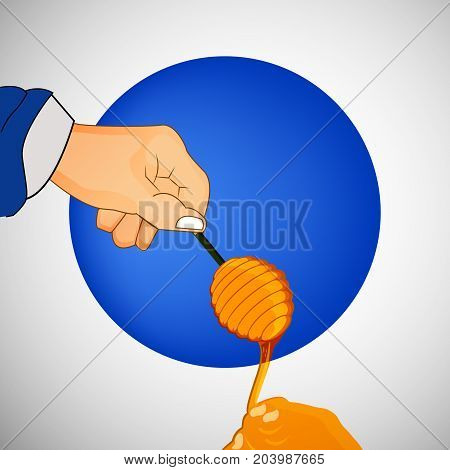illustration of hand holding honey stick on the occasion of Jewish New Year Shanah Tovah